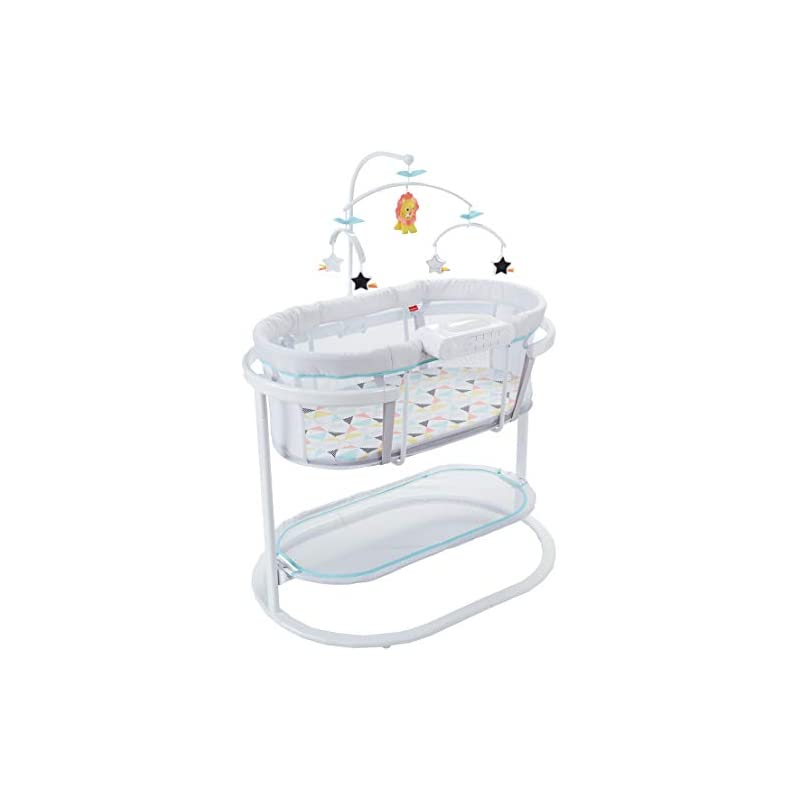 crib bedding and baby bedding fisher-price soothing motions bassinet, soothe baby to sleep with calming sway motion, deluxe overhead mobile & dual mode light projection!, multi
