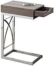 Monarch Specialties Accent Table with Sturdy Chrome Metal Base and a Drawer, Dark Taupe