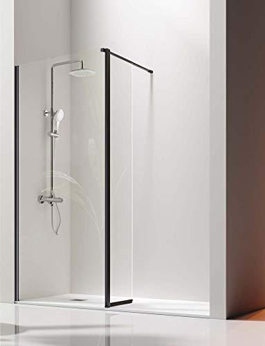 Mampara de Ducha Frontal- 1 Panel Fijo y 1 Puerta Abatible- Cristal de Seguridad de 6/8 mm - Modelo Giro Black [105 (65+40)]