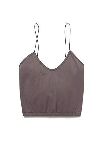 Free People Seamless Skinny Strap Crop Cami Dark Grey XS/SM