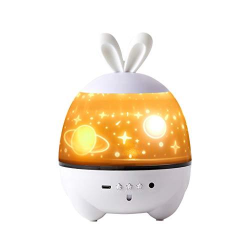 WYZ - Luz de proyección romántica de rotación, 5 colores, luz nocturna regulable, los niños duermen pacíficamente, lámpara de mesa, decoración del dormitorio mejor regalo