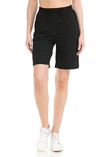 Leggings Depot JSA128-BLACK-XL Multipurpose Daily Casual Lounge Jogger Shorts w/Pockets, X-Large