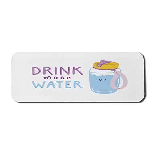 Trinken Sie mehr Wasser Computer Mouse Pad, Nachricht Dehydration Body Energy Gesunde und Cartoonish Flasche, Rechteck rutschfeste Gummi Mousepad Large Pale Azure Blue Mauve