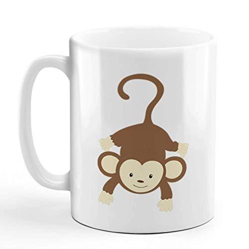 N\A aza de café de cerámica El Mono cuelga el diseño de la Taza de té Blanca de Safari Solamente