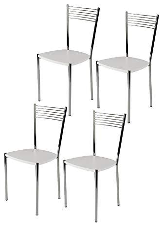 Tommychairs - Set 4 chaises Elegance pour Cuisine, Bar et Salle à Manger, Robuste Structure en Acier chromé et Assise en Bois laqué Couleur Blanc