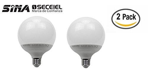 SECEIEL ® Bombilla LED Globo E27 ,15W 1521 lumen,(equivalente a 100W),Blanco Neutro , 2 unidades [Clase de eficiencia energética A+] (GLOBO-15W, 2 Unidad)