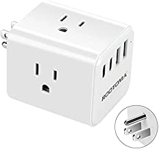 USB C Multi Plug Outlet, Electrical Outlet Extender with USB, ROOTOMA USB Wall Charger with 2 USB C 2 USB A Ports and 3 Outlets, USB C Power Strip No Surge Protector for Cruise 701-white-15A 1875W