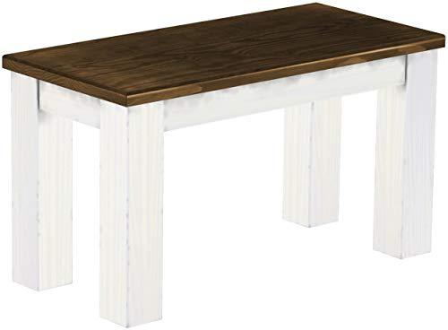 Brasilmöbel Sitzbank 80 cm Rio Classico Eiche Weiss Pinie Massivholz Esszimmerbank Küchenbank Holzbank - Größe und Farbe wählbar