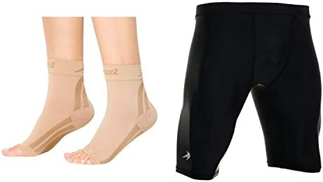 CompressionZ Compression Foot Sleeves Men s Compression Shorts Bundle Nude Black Medium product image