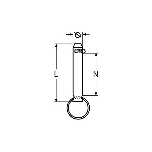 Marinox Steckbolzen mit Kugelsicherung   V2A, Durchmesser:Ø 6 mm