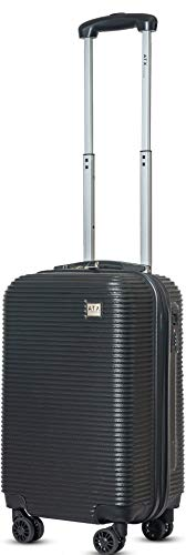 ATX Luggage Cabin Approved Super Lightweight Durable Carry-ons Hand Luggage Trolley 8 Wheeled Luggage Bag for EasyJet, Jet2, BA and Many More Airlines (Black)