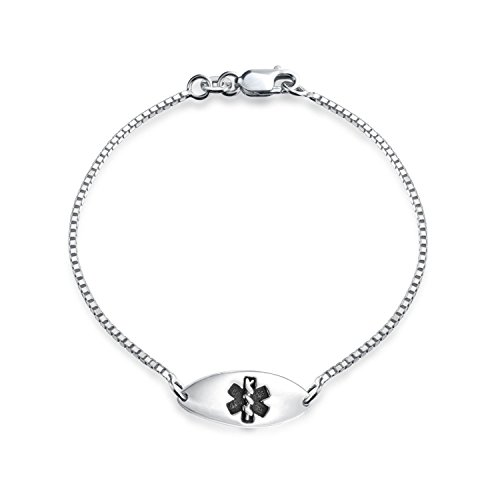Children's Medical Alert Bracelet 6.5in 925 Silver