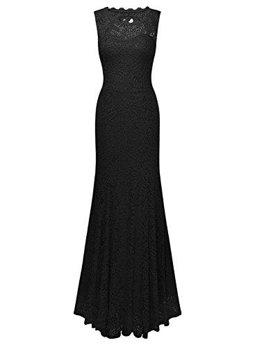 Miusol Kleid Spitzenkleid für Sommer Ruckelfrei und Ärmellos Brautjungferkleid Cocktailkleid - 4
