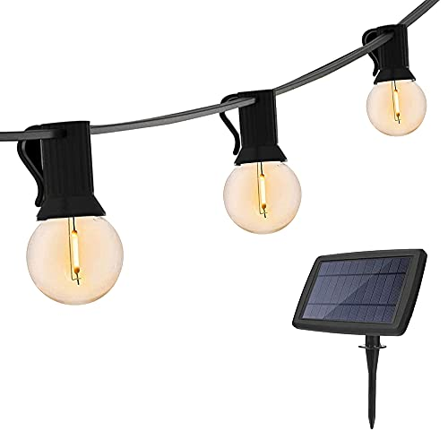 48Feet Solar String Lights Outdoor Patio Lights Solar Powered Waterproof G40 Globe Hanging Lights with 20 LED Shatterproof Bulbs for Backyard Balcony Bistro Party Solar Patio Light String Lights