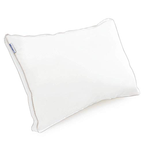 Lunvon Adjustable Shredded Memory Foam Bed Pillow Washable Cotton Cover, CertiPUR-US, Queen, White