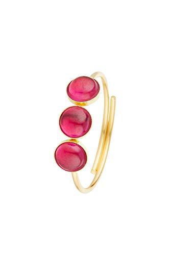 Córdoba Jewels | Anillos en Plata de Ley 925 bañada en Oro con diseño Trio Dolce Rubi Gold