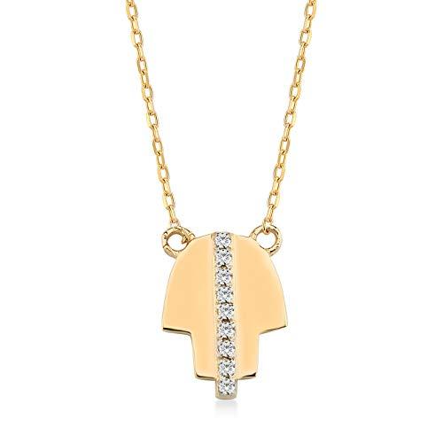 Gelin Damesketting van 14 karaat – 585 echt geelgoud ketting met hanger 0,02 ct diamant Hamsa hand van Fatima en oog, Nazar – ketting 45 cm