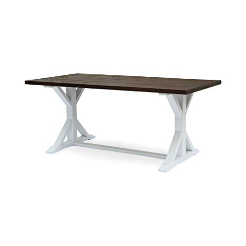 Mayo Rustic Farmhouse Acacia Wood Dining Table, Dark Brown and White