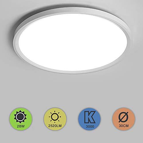 Yafido LED Deckenlampe Ultra Slim 28W 2520Lm UFO LED Panel 3000K Warmes Weiß LED Deckenleuchte für Wohnzimmer Schlafzimmer Flur Büro Küche Küche Balkon und Esszimmer Nicht-dimmbar Ø30cm