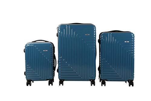 Luxus 3 TLG TSA Kofferset IMEX Koffer Trolley HARTSCHALE POLYCARBONAT ABS GESCHÜTZES Design Model 3600 BLAU
