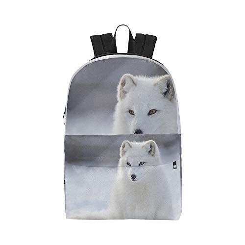 Blancanieves Arctic Fox Classic Cute Bolsas Impermeables para Mochilas Escolares Colegio Universitario Causal Mochilas Mochilas para niños Mujeres y Hombres viajan con Cremallera y Bolsillo Interior