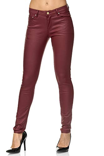 Elara Pantalones Mujer Polipiel Push Up Chunkyrayan Rojo E621-2 Red-36 (S)