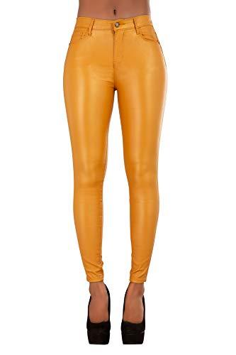 Glook Damen Kunstlederhose Skinny Bikerhose Leder Look Hohe Taille (42, Senffarben)