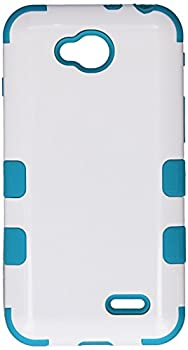 Asmyna TUFF Hybrid Phone Protector Cover for LG D415 Optimus L90 - Retail Packaging - Ivory White/Tropical Teal