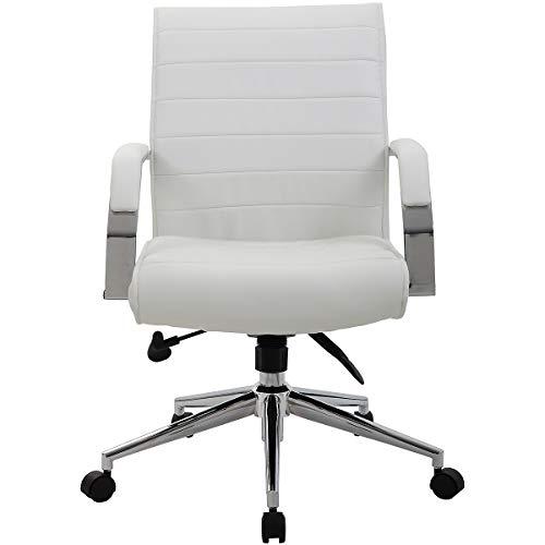 Certeo Chefsessel Identity mit Lederbezug, weiß - Bürostuhl mit Soft Touch Leder - Schreibtischstuhl mit italienischem Design