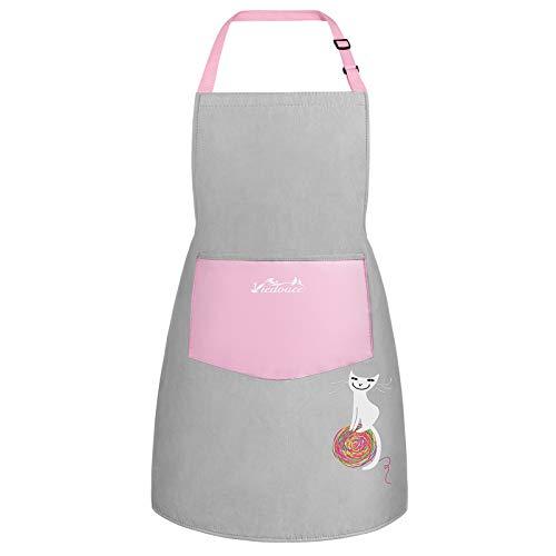 Viedouce Kinder Schürzen mit Tasche,Wasserdicht Schürzen für Jungen Mädchen,Verstellbare Kochschürze/Küchenschürze für Basteln Bemalen Backen Kochen