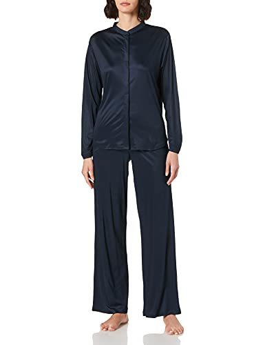 Schiesser Damen Pyjama lang Pyjamaset, Nachtblau, 38