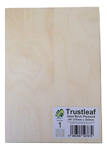 Trustleaf 3 mm Abedul contrachapado A4-300 x 210 x 3 mm – (Paquete de 1) – Laserable bajo Fume E1 Pegamento Ply