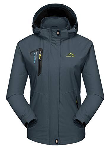 MAGCOMSEN Damen Windjacke Outdoor Regenjacke Trekking Softshelljacke mit Kapuze wasserdichte Wanderjacke Klettern Bergjacke für Sport Grau XL