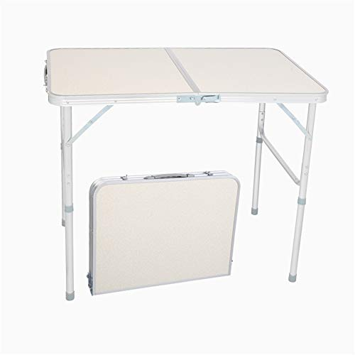 KNMNIU Aluminum Folding Table, Multipurpose Picnic Camping Table, Portable and Adjustable Rectangle Table for Party, Beach, Backyard, BBQ, Indoor and Outdoor