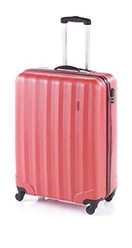 Maleta Dura de Cabina, Cuatro Ruedas, Material ABS (Rosa-Rojo Coral)