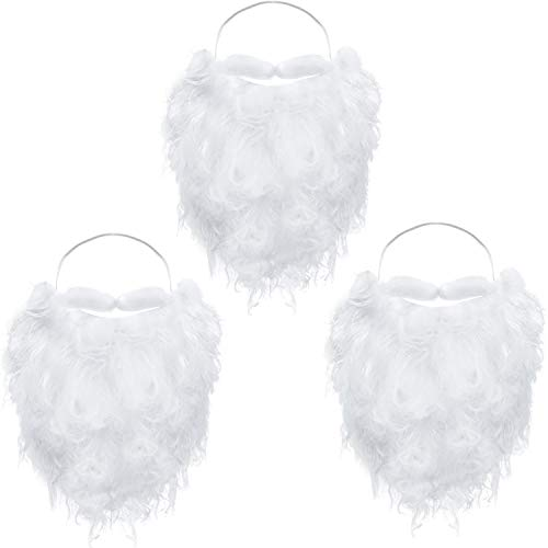 Funny Santa Beard Costume White Fake Beard Christmas Santa Claus Beard Costume Accessories for Teens Adults Disguise Santa Claus on Christmas Party (3 Packs)