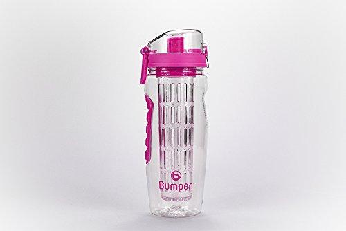 Bumper Trinkflasche mit Fruchteinsatz Infuser Wasserflasche Sportflasche Pink
