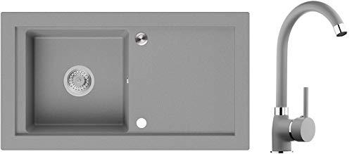 Spülbecken Grau 89 x 49,5 cm, Granitspüle + Küchenarmatur + Siphon Pop-Up, Küchenspüle ab 60er Unterschrank, Einbauspüle Prag von Primagran