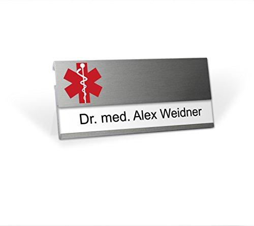 Aluminium Namensschild mit Logo Arzt magnetisch für Kleidung zum Anstecken Komplettset MSF Alu beschriften Magnet Clip Nadel Papier Drucketiketten A4 Magnetnamensschild bedrucken Praxis Labor Medizin