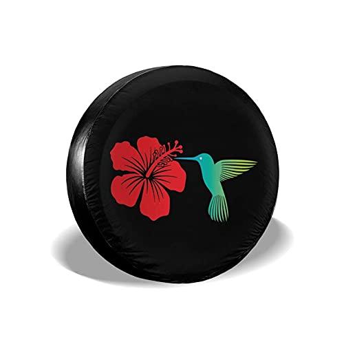 Hokdny Cubierta De Rueda De Neumático De Repuesto Colibrí Y Flor De Hibisco Rojo Cubiertas De Neumáticos Universales Impermeables A Prueba De Polvo