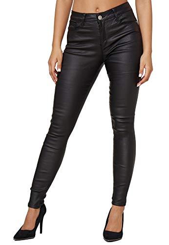 Damen Leder Optik Coated Denim Jeans Skinny Treggings Biker Stretch Hose Push Up Hüfthose Big Size, Farben:Schwarz, Größe:40