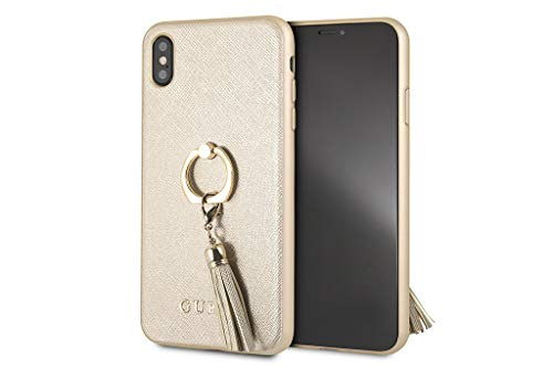 Guess Backcover hoesje Bruin - Met ring goud - Leer - iPhone Xs Max - Siliconen rand