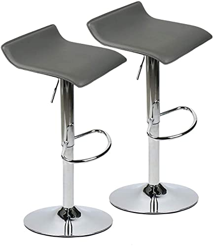 Modern Swivel Adjustable Home Barstools-Set of 2 for Kicthen Counter Backless Pu Leather Fabric Counter Height Airlift Home Bar Furniture Stool Chairs with Chrome Base (Grey)