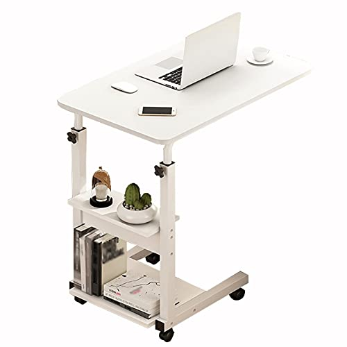 Computer Workstations Adjustable Overbed Food Tray Table, Bedside Computer Desk with Wheels, Sofa Side End Laptop Table with Storage Sofa Woking Desk 60x40cm Portable Table (Color : B)
