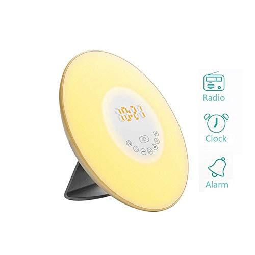 QFLY Digitale wekker met wekker, wekker, multifunctionele wakker licht, simulatie zonsopgang, kleurrijk wakker licht