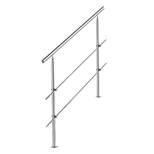 wolketon Geländer für Balkon Brüstung Treppen mit/ohne Querstreben Easy aufzubauen (120cm, 2 Querstreben)
