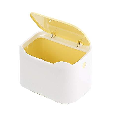 Cubo de Basura de Escritorio, Mini Cubo de Basura, Bote de Basura de Oficina, Bote de Basura Portátil, Bote de Basura Tipo Prensa, Limpieza de Escritorio, para Escritorio, Sala de Estar(Amarillo)
