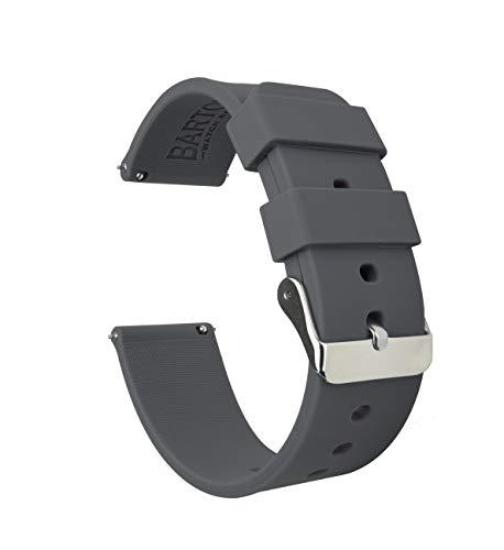 BARTON WATCH BANDS Silikon Schnellverschluß.- Wählen Sie Farbe & Breite (16mm, 18mm, 20mm or 22mm) Ruß Grau 20mm Uhren Armband