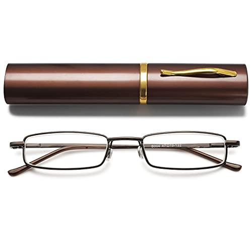 VEVESMUNDO Metall Lesebrille Mini Kompakt Leicht Federscharnier Schmal Klassische Lesehilfe Brille mit Metall Etui (Braun, 1.0)