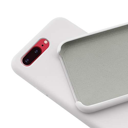 N Newtop - Carcasa compatible para iPhone 7 – 8 Plus, Ori Case carcasa TPU silicona semirrígida colores microfibra interior suave (blanco)